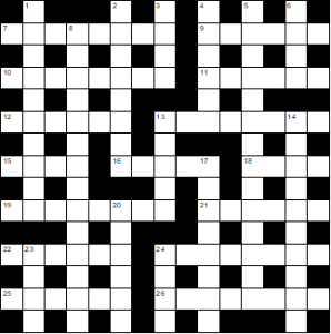 Unfilled crossword grid